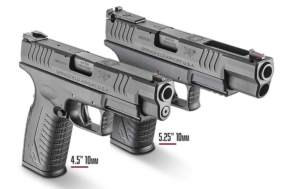 """Las dos pistolas Springfield Armory en ambas configuraciones 4.5"""" y 5.25"""". Redacción Espacio Armas"""