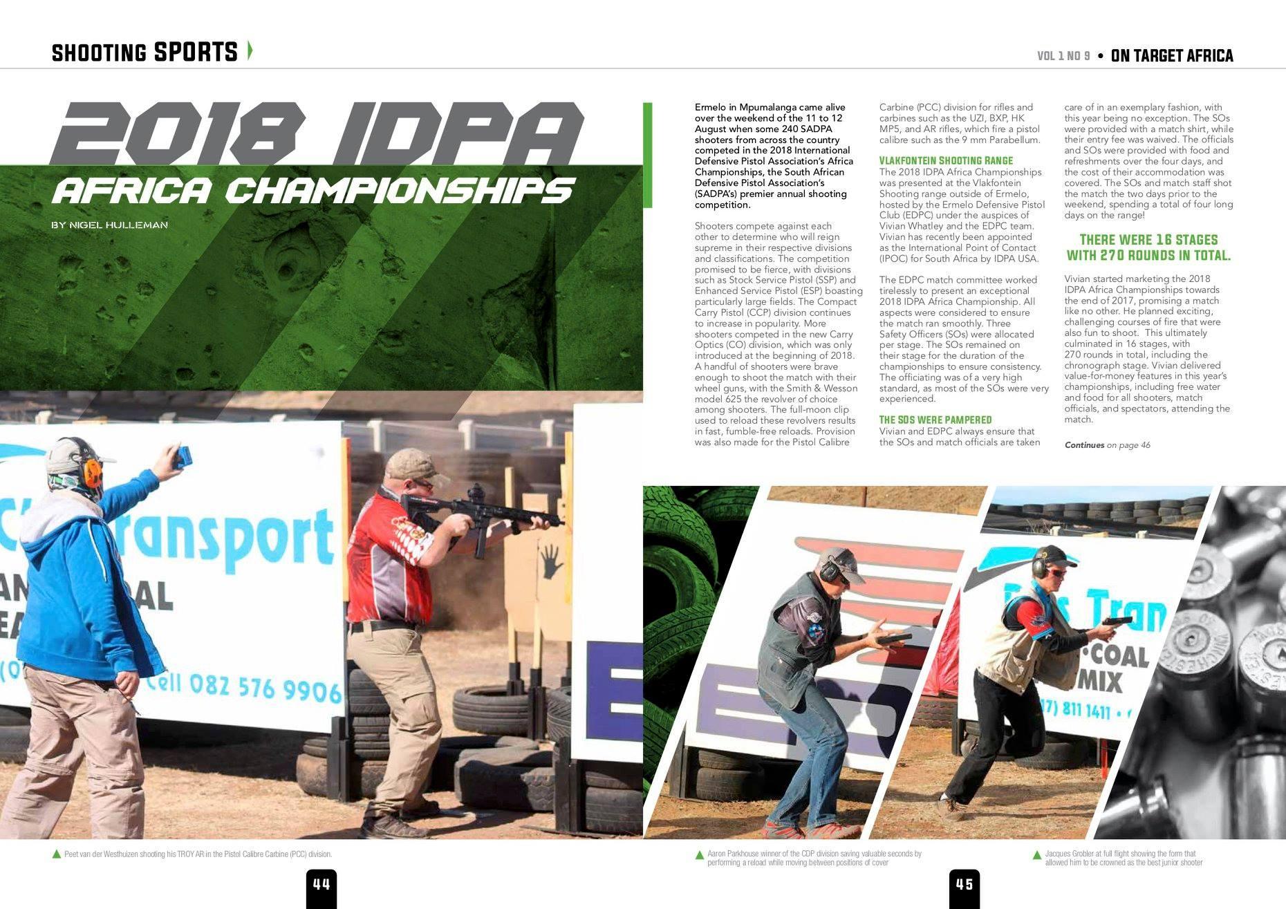 Tiro defensivo y deportivo, diferencias sustanciales y áreas en común.. Revista de IPDA Association - Fuente fotografía: IPDA Facebook