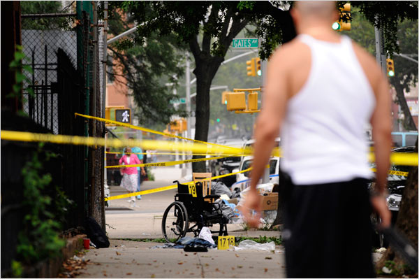 A murder scene at Gates Avenue and Patchen Avenue in Bedford-Styuvesant, Brooklyn, in July 2008.Robert Stolarik for The New York Times