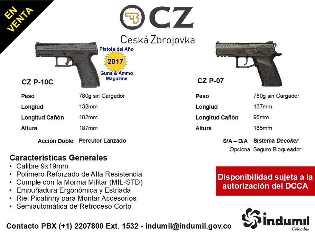 CZ P-10C / CZ P-07. Fuente Indumil Colombia. Redacción Espacio Armas.