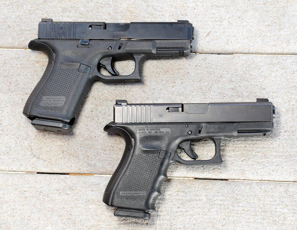 Arriba, FBI Glock 19 M, abajo Glock 19 Gen 4. Redacción Espacio Armas.