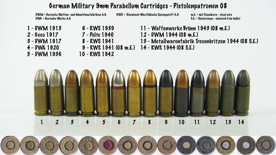 Varios tipos de municiones militares alemanas en Calibre 9 mm Parabellum.