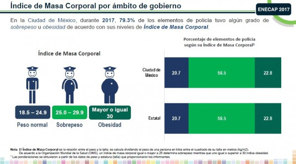 Primera Encuesta Nacional de Estándares y Capacitación Profesional Policial (Enecap). Fuente Inegi.