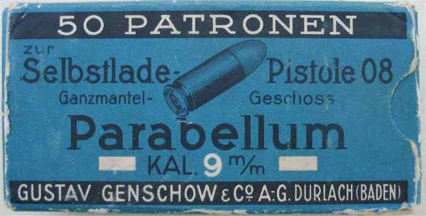 Antigua caja de cal. 9 mm Parabellum. Redacción Espacio Armas