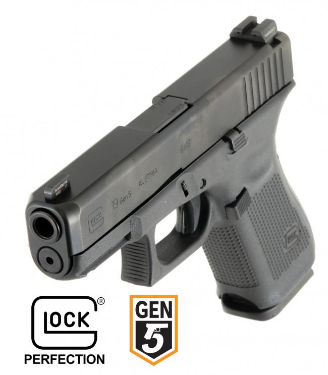 Glock 19 Gen. 5 con miras Ameriglo Bold. Redacción Espacio Armas.