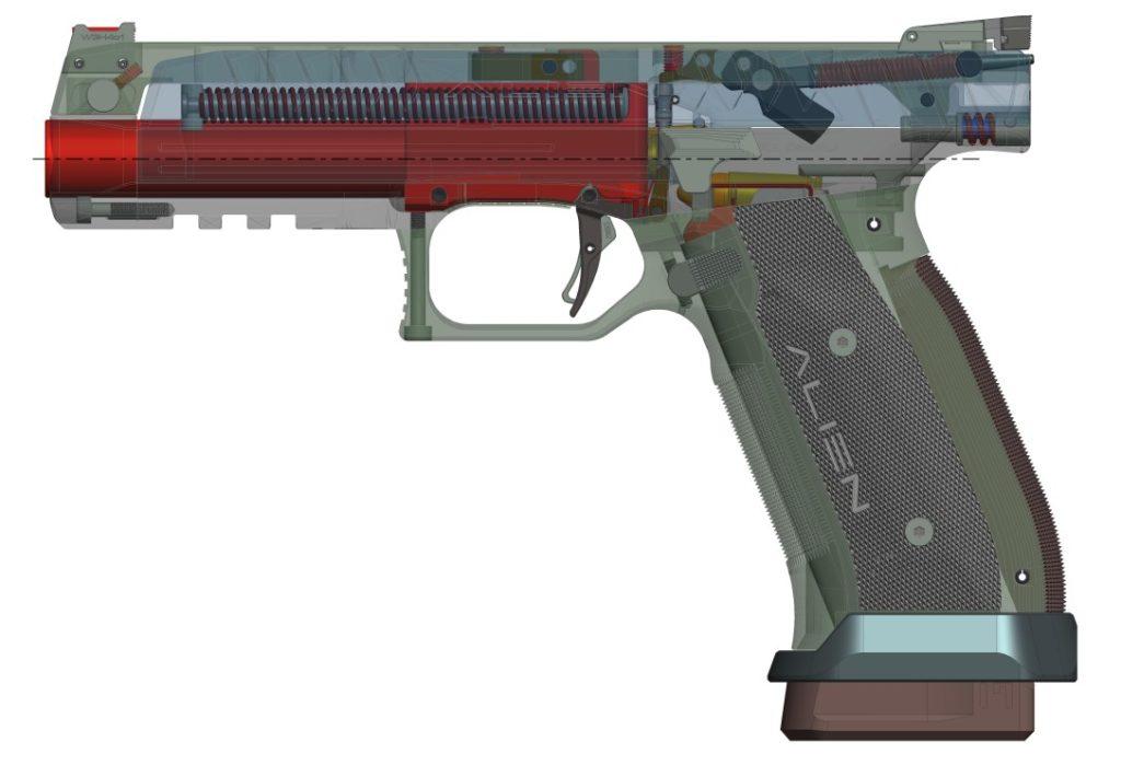 Diseño técnico de la pistola Alíen de Laugo Arms. Redacción Espacio Armas