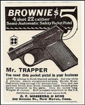 Pistola Mossberg Brownie. Fuente Wikipedia. Redacción Espacio Armas.
