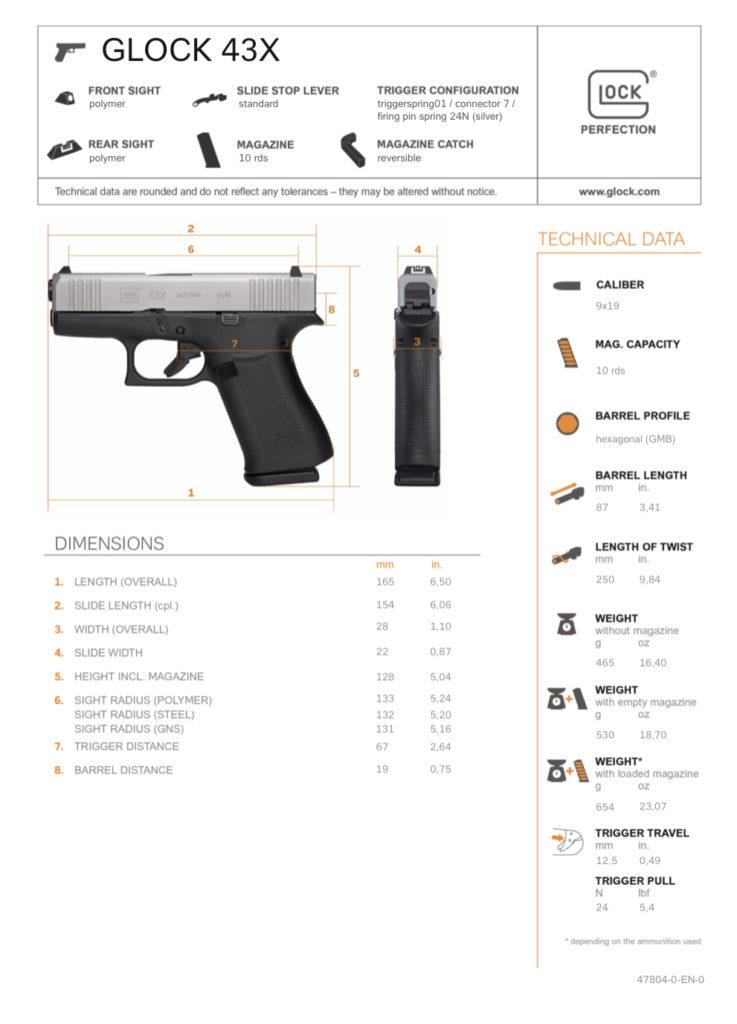 Ficha Técnica Glock 43X. Fuente Glock. Redacción Espacio Armas.