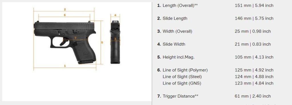 Ficha técnica de la pistola Glock 42. Fuente Glock. Redacción Espacio Armas.