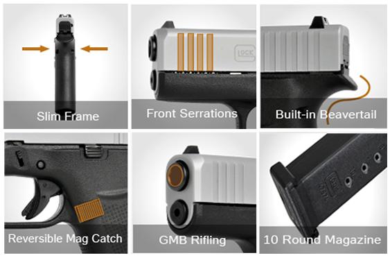 Detalles de las nuevas Glock Slimline. Fuente Glock. Redacción Espacio Armas.