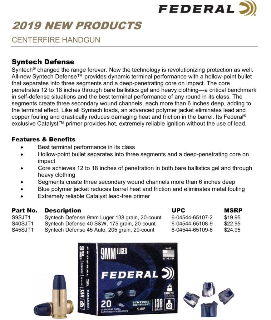 características Munición Syntech Defense de Federal Premium, lanzamiento