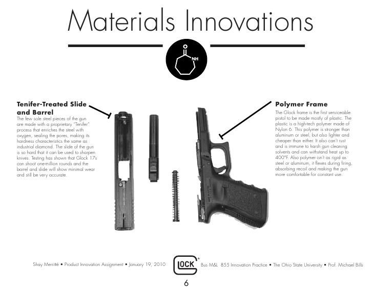 Innovaciones de materiales; tratamiento del cañon en Tenifer y el armazon en polimero. Fuente Glock.com. Redaccion Espacio Armas.