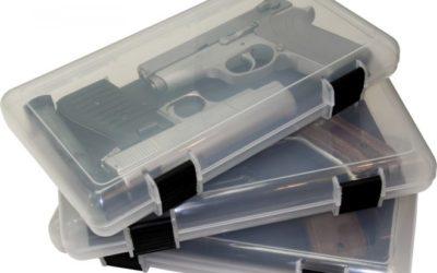 Pistola en la caja segura de MTM CASEGARD
