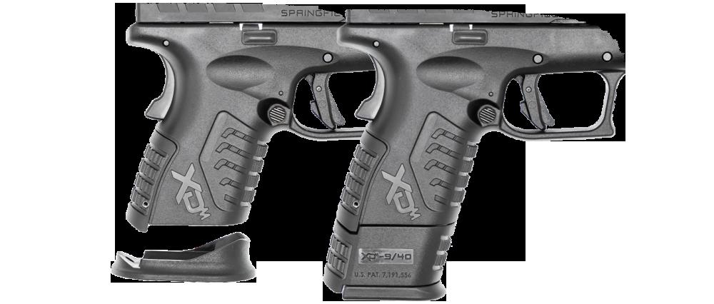 Detalle de la pistola XDM Elite. La tapa para extender la empunadura.Fuente: springfield-armory.com/xd-series-handguns/xd-m-elite-handguns. Redacción Espacio Armas.